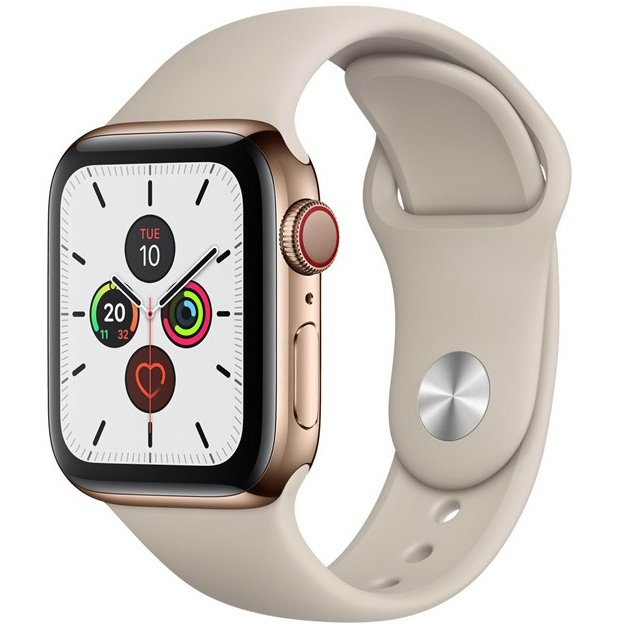 Ceas Smartwatch Apple Watch Series 5, GPS, 44mm Gold Stainless Steel Case, Stone Sport Band
