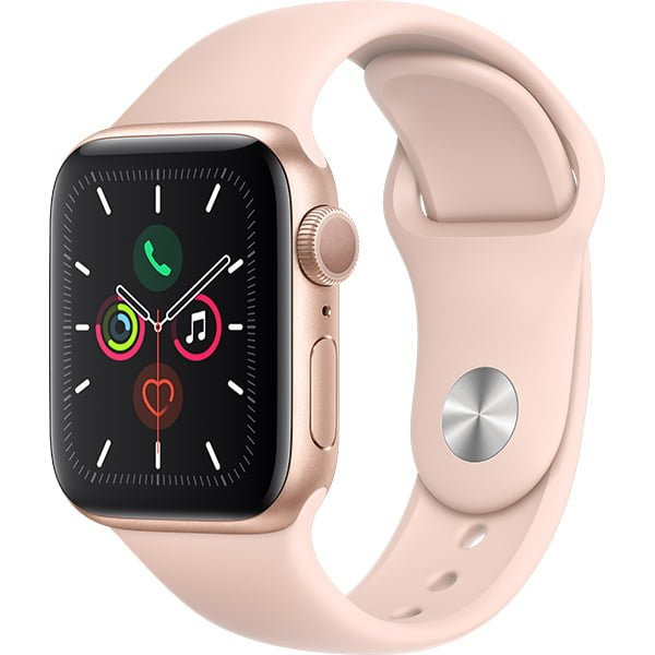 Ceas Smartwatch Apple Watch Series 5, GPS, 40mm Gold Aluminium Case, Pink Sand Sport Band