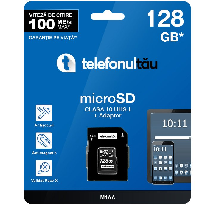 Card de memorie telefonultau MicroSDHC, 128GB, Class 10, UHS-I, 100MB/s si Adaptor
