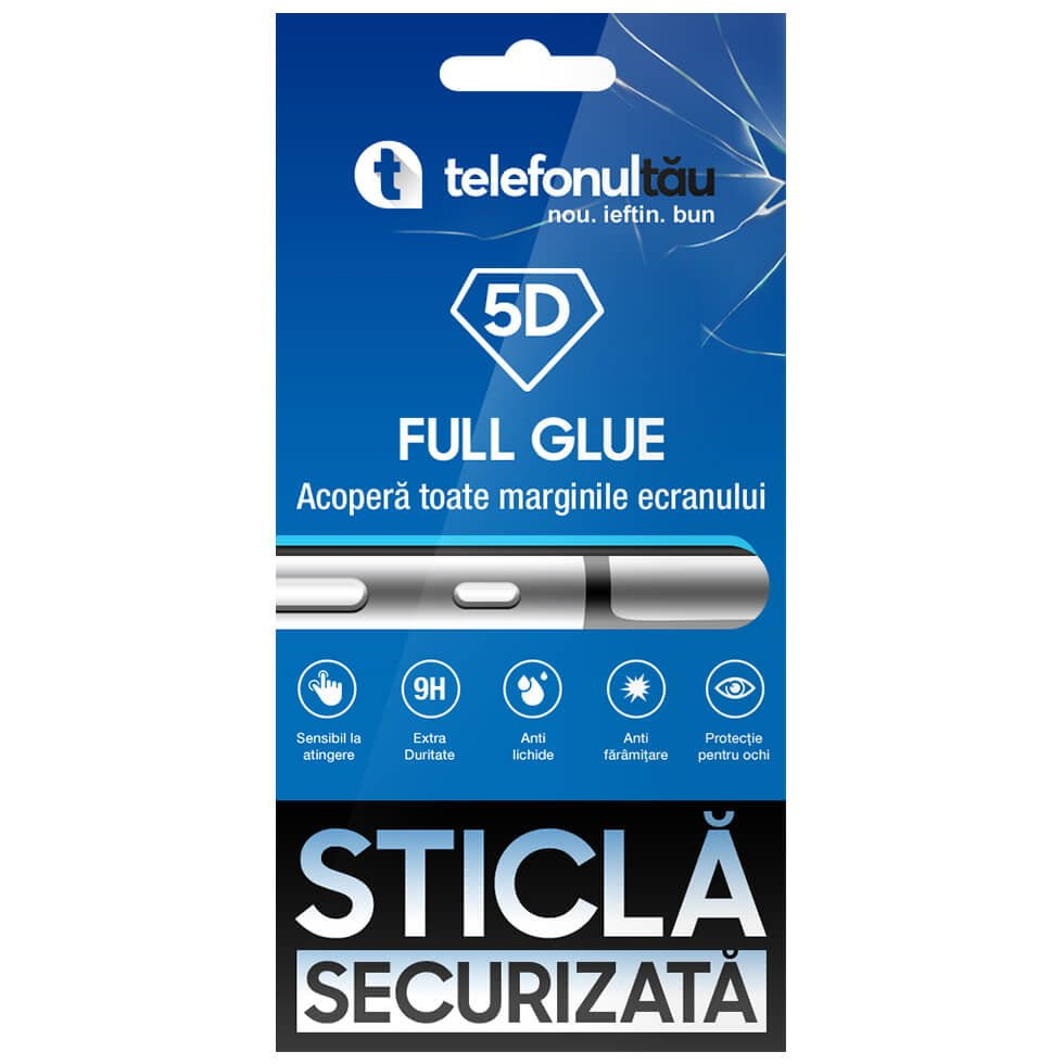 Folie sticla telefonultau 5D Full Cover, Apple iPhone 7/ 8, Full Glue, White