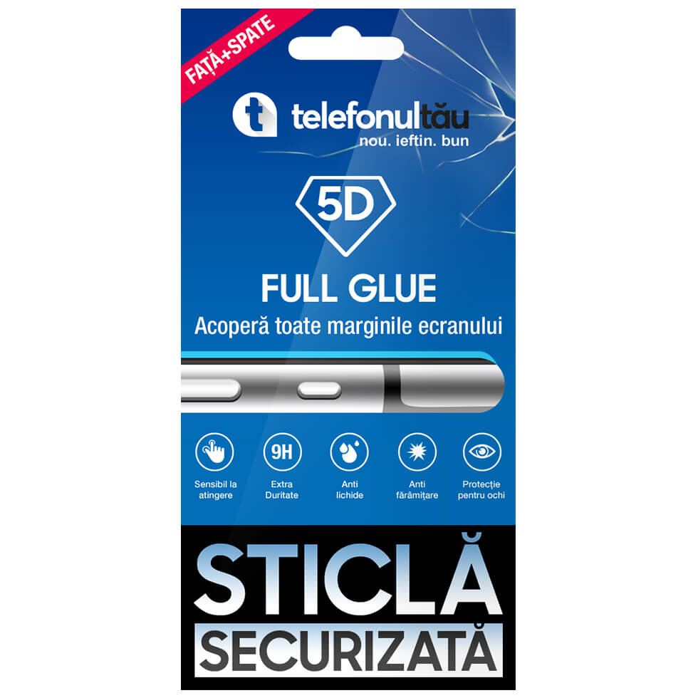 Folie sticla telefonultau 5D Full Cover, Fata - Spate, Apple iPhone X/ XS, Full Glue, Black