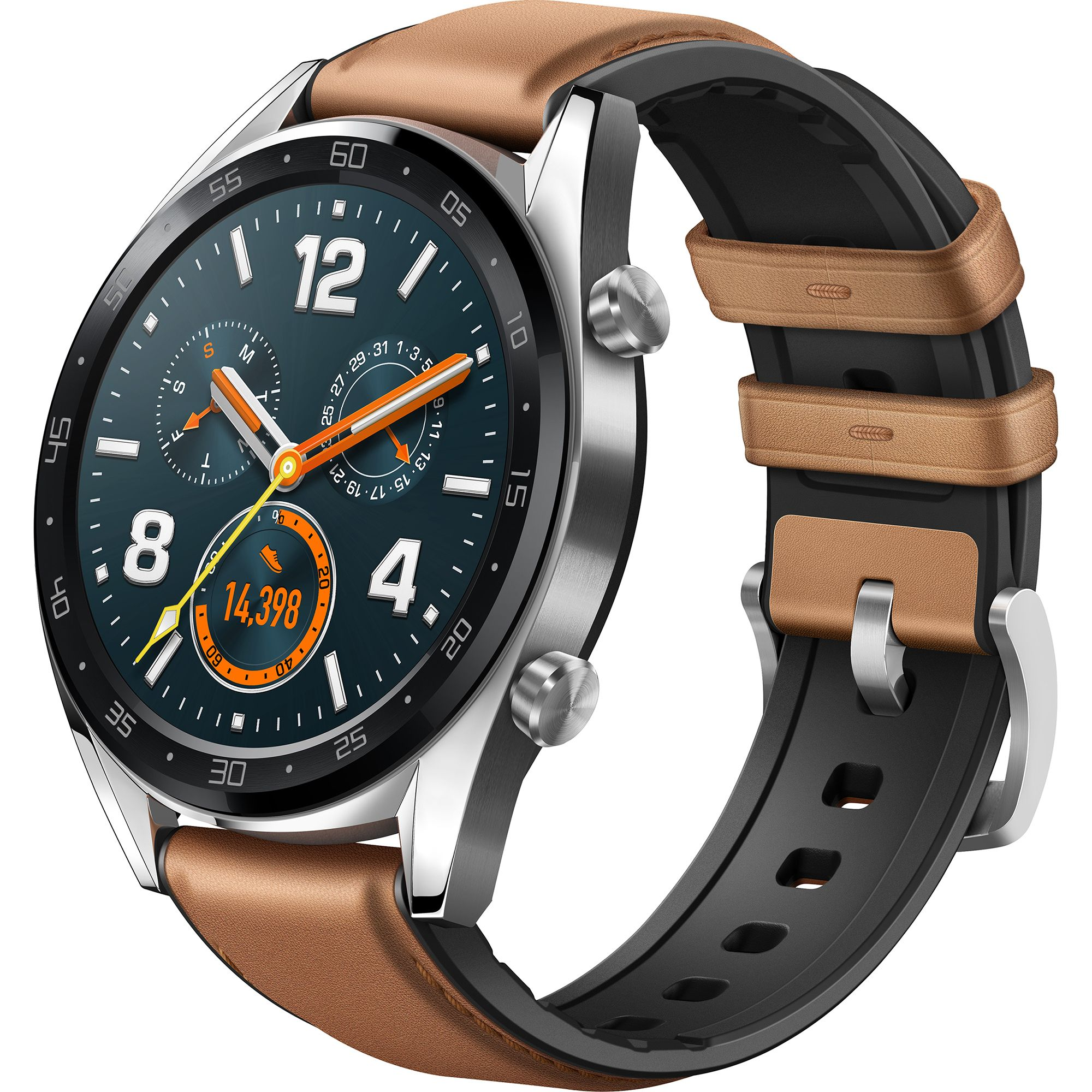 Ceas Smartwatch Huawei Watch GT, Classic, GPS, HR, 46mm, Silver Stainless Steel, Curea Saddle Brown