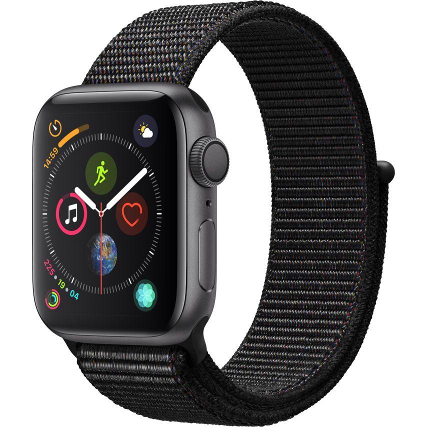 Ceas Smartwatch Apple Watch Series 4, GPS, 40 mm, Space Grey Aluminium cu bratara Black Sport Loop