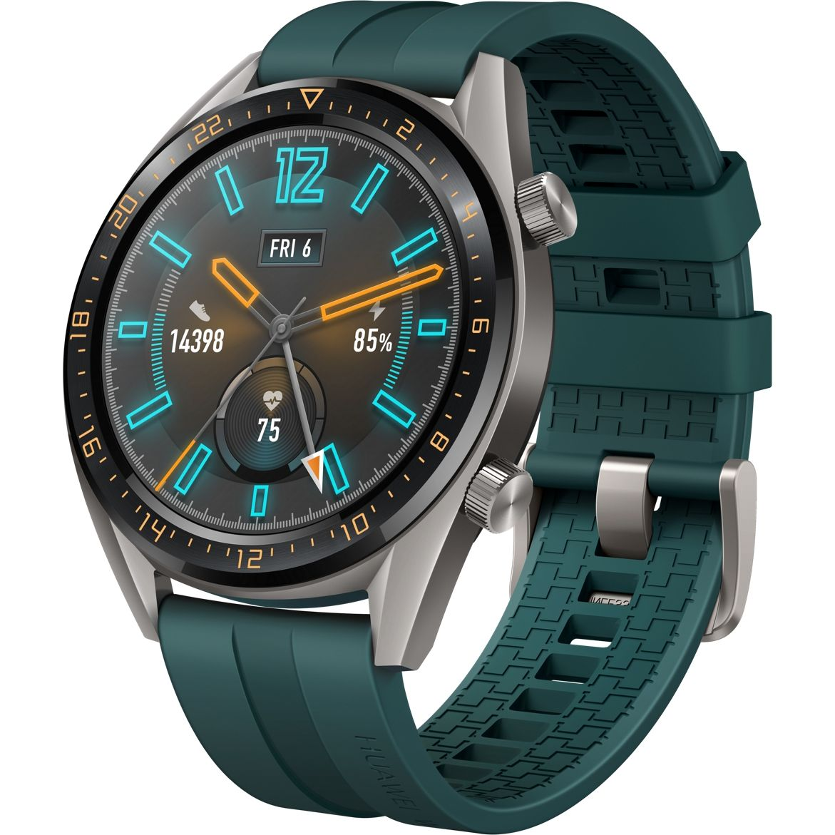 Ceas Smartwatch Huawei Watch GT, GPS, HR, 46mm, Titanium Grey Stainless Steel, Curea Dark Green