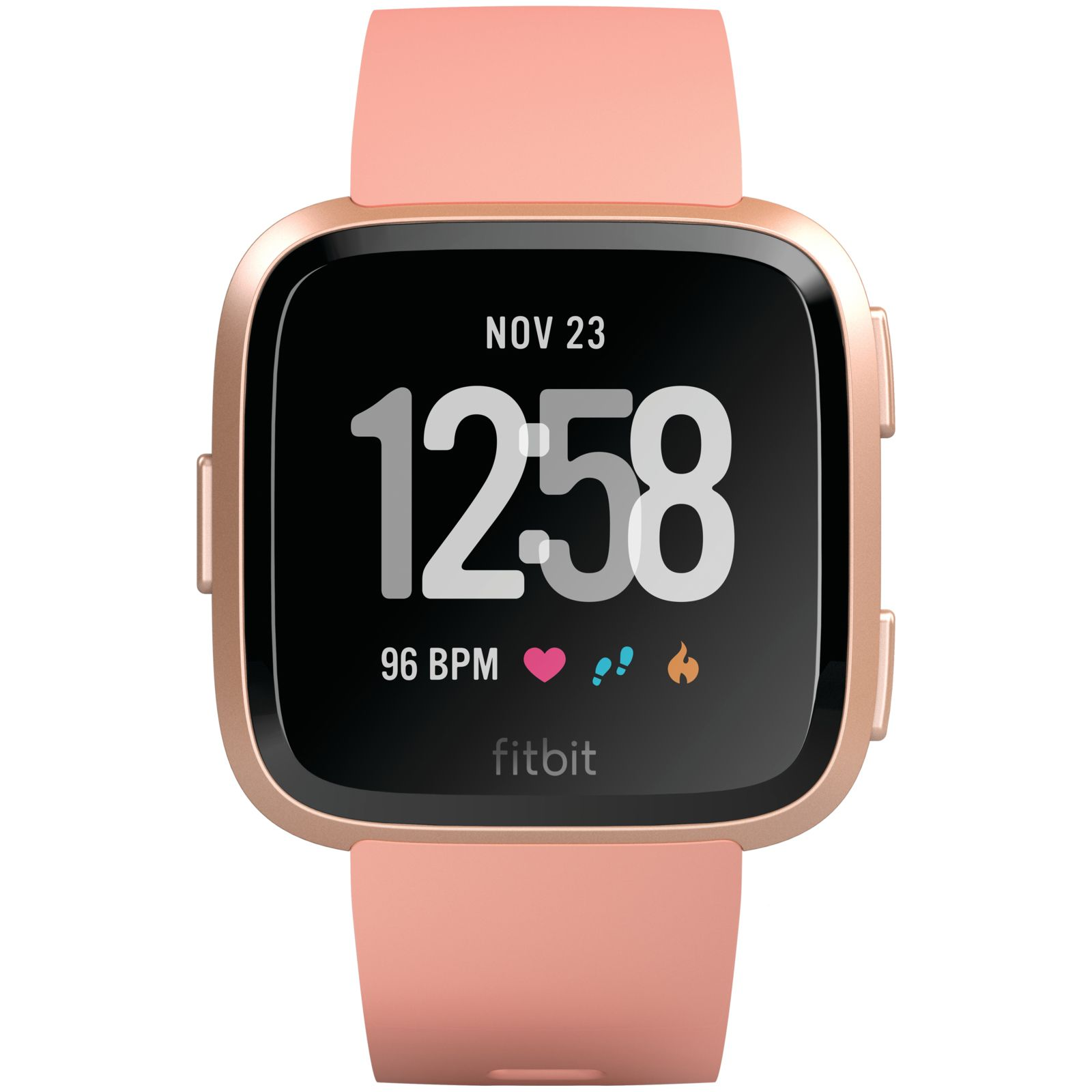 Ceas Smartwatch Fitbit Versa, HR, Silicon, Peach/ Rose Gold Aluminium