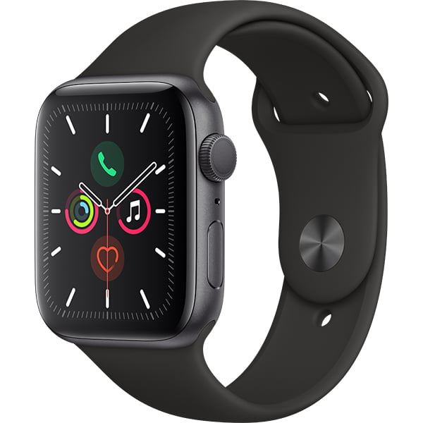 Ceas Smartwatch Apple Watch Series 5, GPS + Cellular, 44mm Space Grey Aluminium Case, Black Sport Band