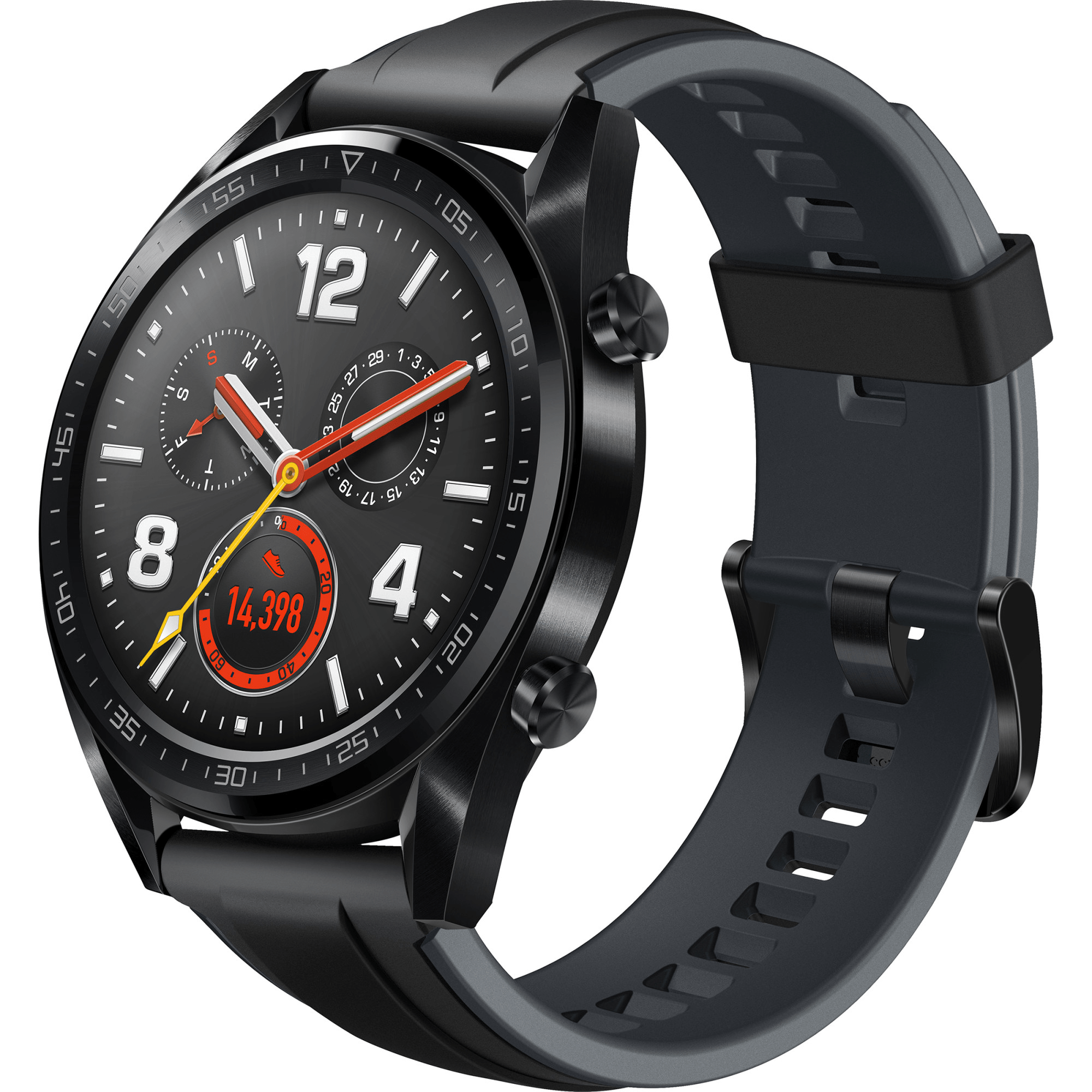 Ceas Smartwatch Huawei Watch GT, GPS, HR, 46mm, Black Grey Stainless Steel, Curea Sport Black