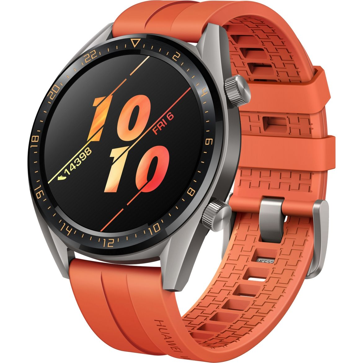 Ceas Smartwatch Huawei Watch GT, GPS, HR, 46mm, Titanium Grey Stainless Steel, Curea Orange