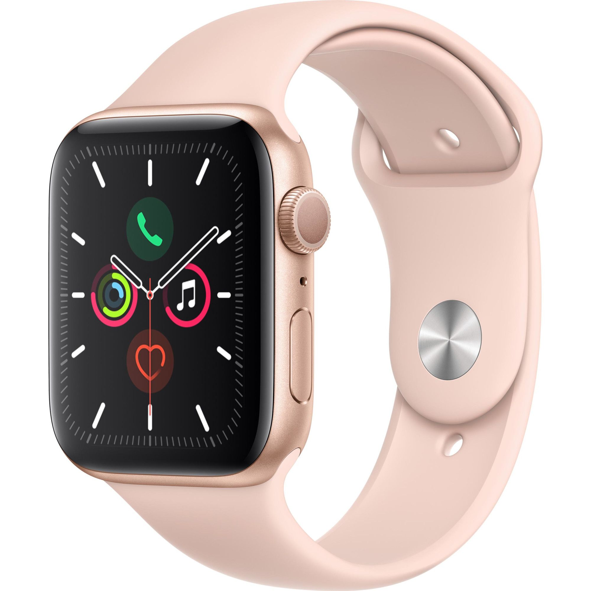 Ceas Smartwatch Apple Watch Series 5, GPS, 44mm Gold Aluminium Case, Pink Sand Sport Band