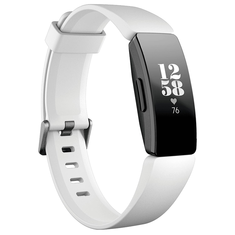 Bratara fitness Fitbit Inspire HR, Silicon, Black Aluminum, Curea White