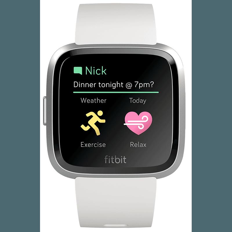Ceas Smartwatch Fitbit Versa Lite, HR, Silicon, Silver Aluminum, Curea White