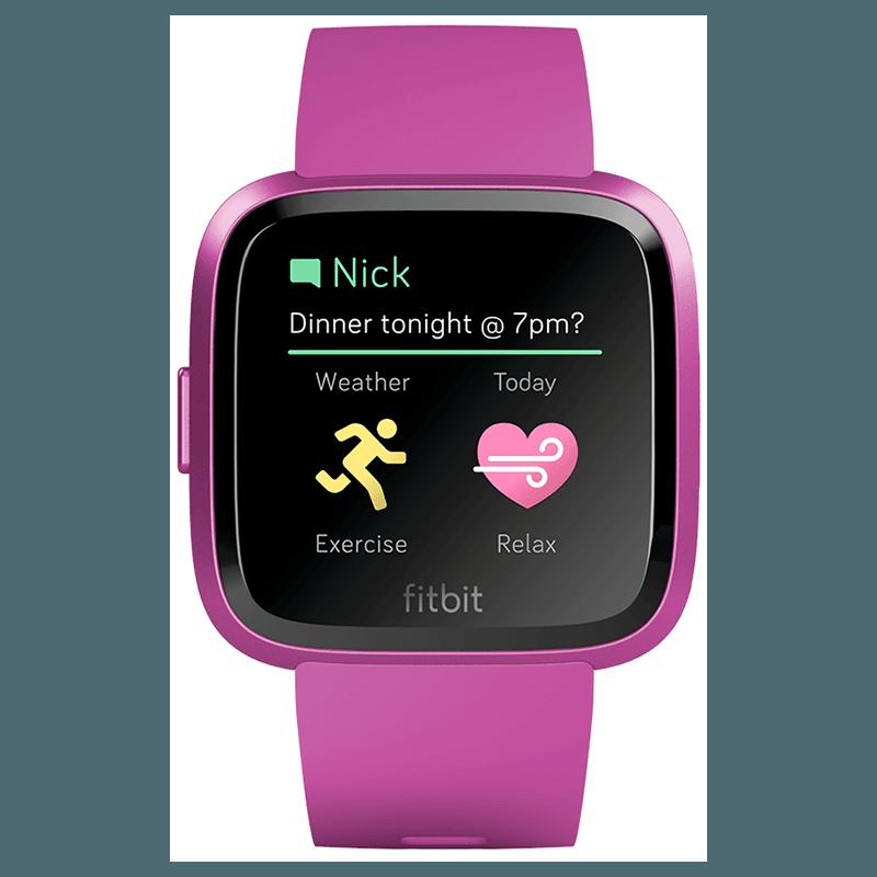 Ceas Smartwatch Fitbit Versa Lite, HR, Silicon, Mulberry Aluminum, Curea Mulberry