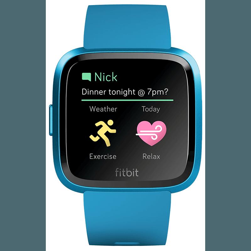 Ceas Smartwatch Fitbit Versa Lite, HR, Silicon, Blue Aluminum, Curea Marina Blue