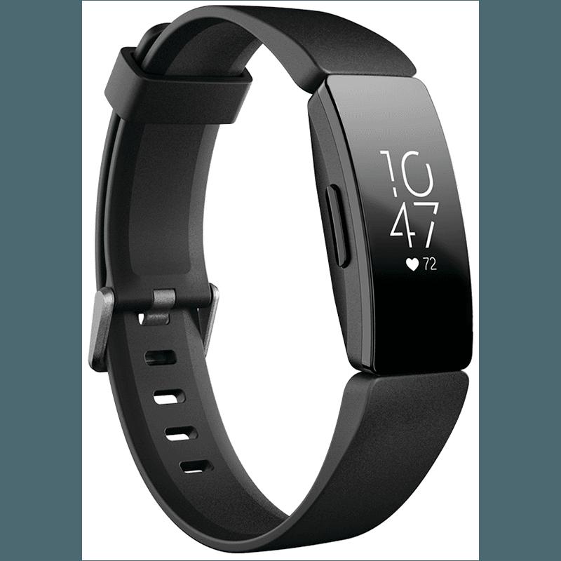 Bratara fitness Fitbit Inspire HR, Silicon, Black Aluminum, Curea Black