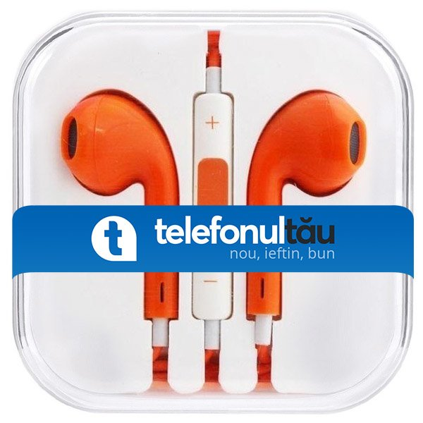 Casti In-Ear Mega Bass cu microfon, Jack 3.5mm, Orange