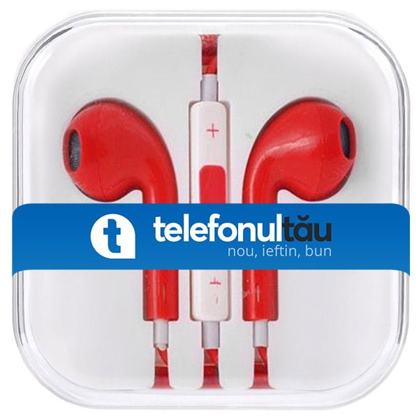 Casti In-Ear Mega Bass cu microfon, Jack 3.5mm, Red