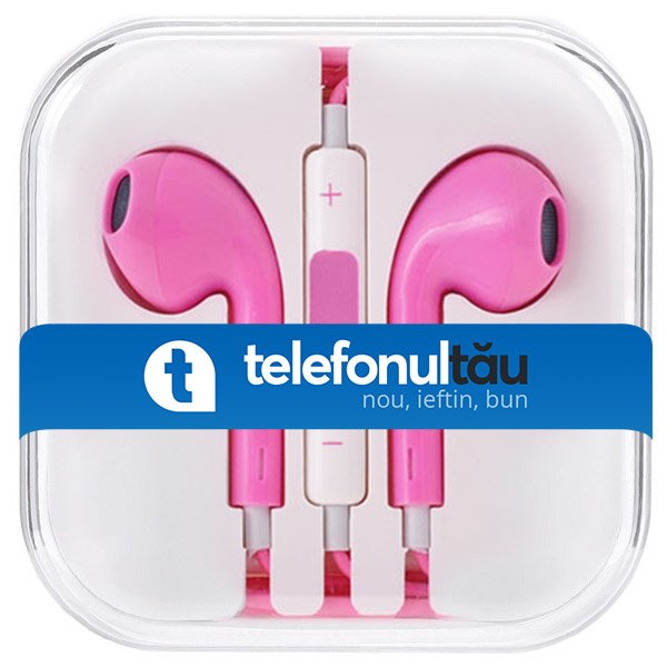 Casti In-Ear Mega Bass cu microfon, Jack 3.5mm, Pink