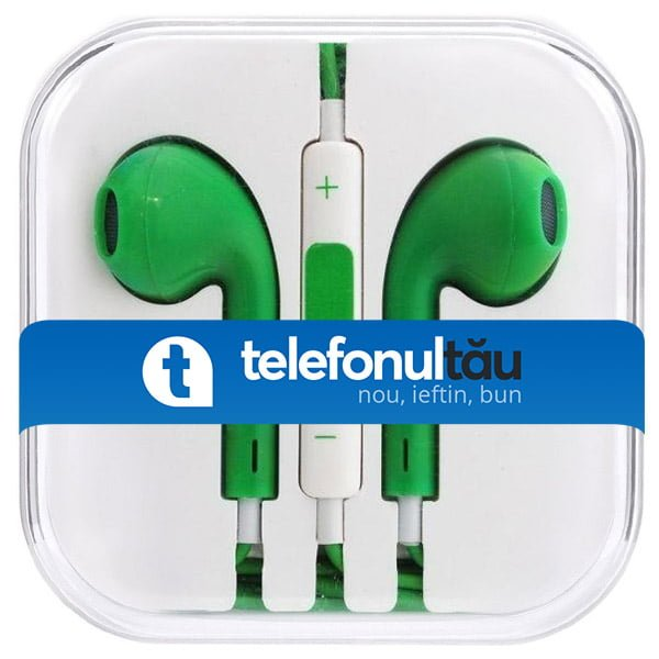 Casti In-Ear Mega Bass cu microfon, Jack 3.5mm, Green