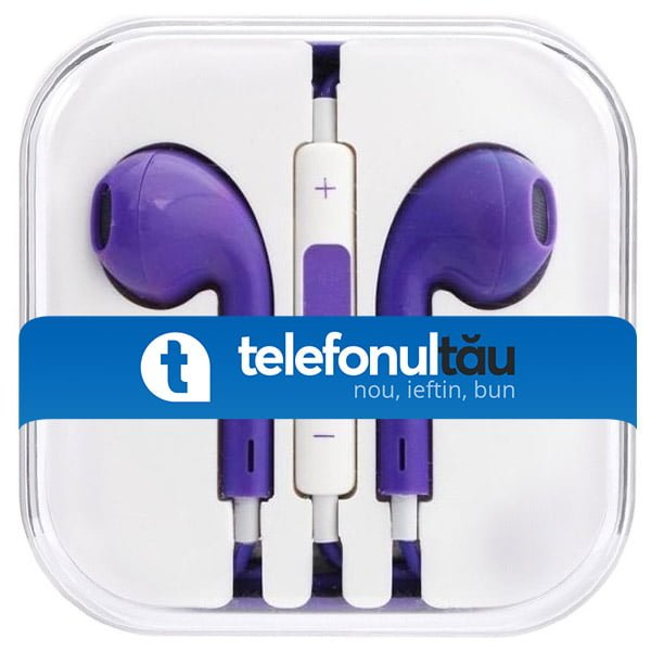 Casti In-Ear Mega Bass cu microfon, Jack 3.5mm, Purple
