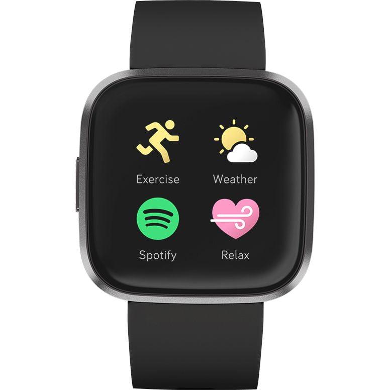 Ceas Smartwatch Fitbit Versa 2, NFC, HR, Silicon, Carbon Aluminum, Curea Black