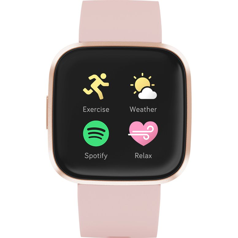 Ceas Smartwatch Fitbit Versa 2, NFC, HR, Silicon, Copper Rose Aluminum, Curea Petal