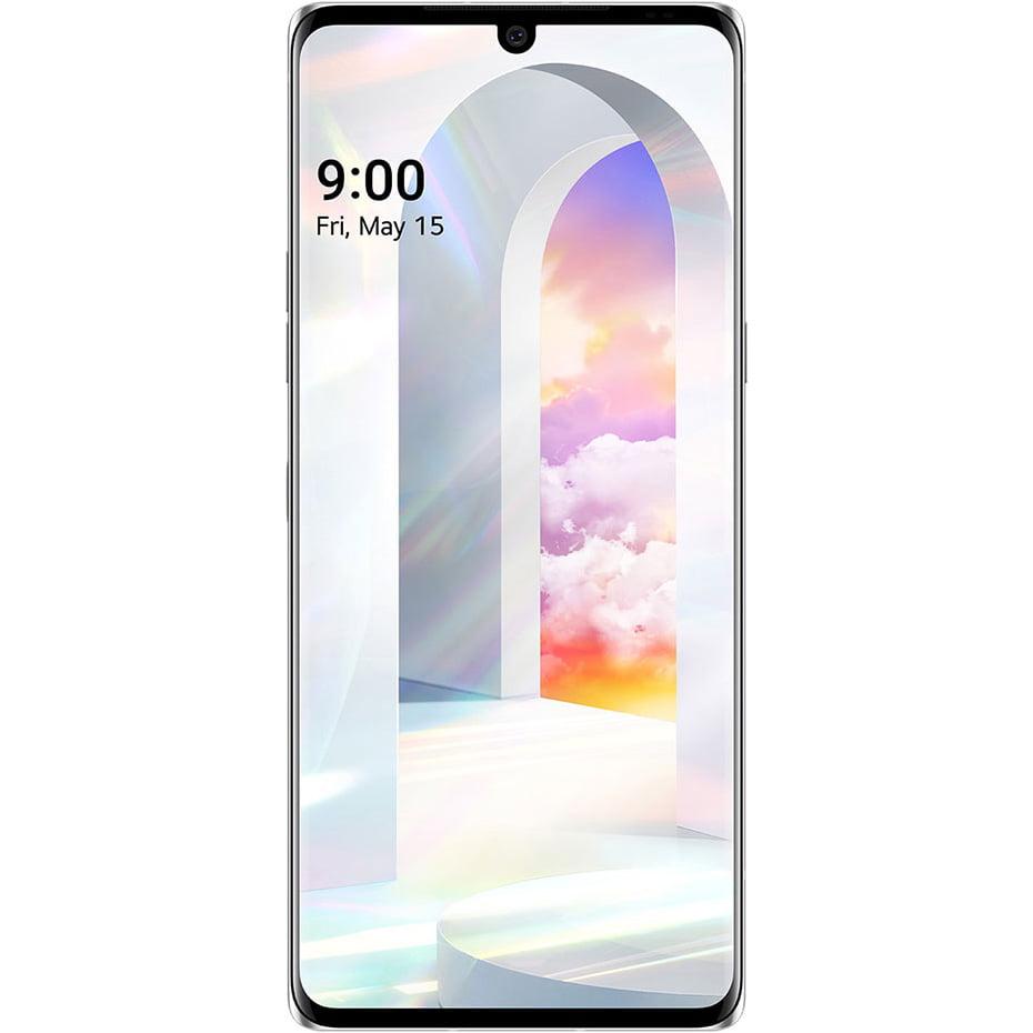Telefon mobil LG Velvet, Single SIM, 128GB, 6GB RAM, 5G, Aurora White
