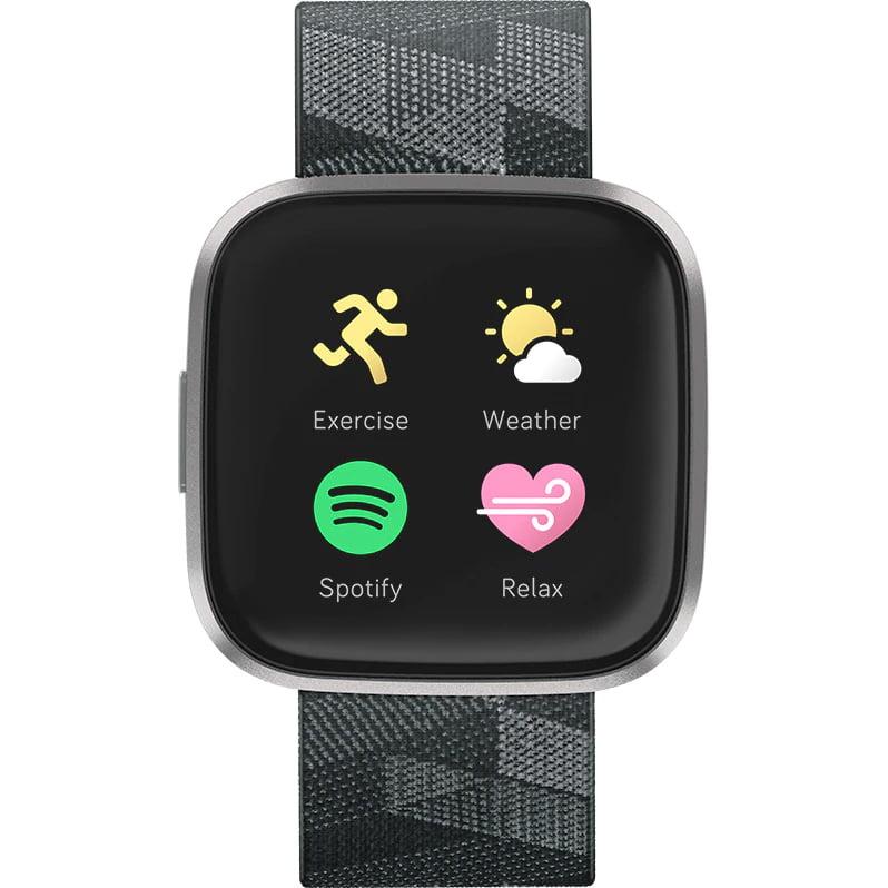 Ceas Smartwatch Fitbit Versa 2 Special Edition, NFC, HR, Woven, Mist Grey Aluminum, Curea Smoke