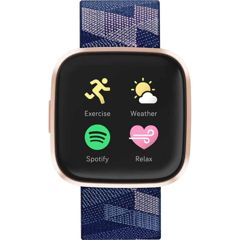 Ceas Smartwatch Fitbit Versa 2 Special Edition, NFC, HR, Woven, Copper Rose Aluminum, Curea Navy & Pink