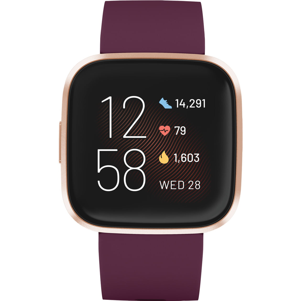 Ceas Smartwatch Fitbit Versa 2, NFC, HR, Silicon, Copper Rose Aluminum, Curea Bordeaux
