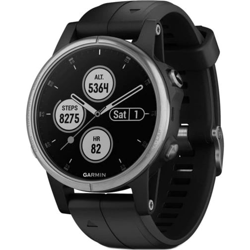 Ceas smartwatch Garmin Fenix 5S Plus, 42 mm, HR, GPS, Silver