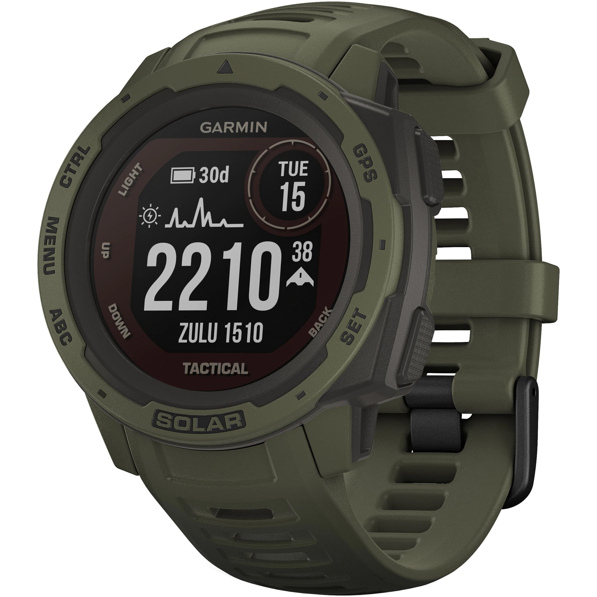 Ceas Smartwatch Garmin Instinct Solar, 45 mm, Tactical Edition, HR, GPS, Moss