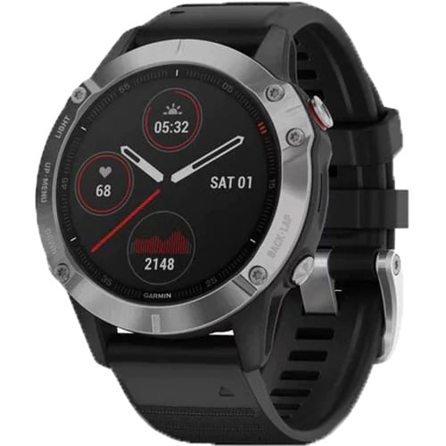 Ceas Smartwatch Garmin Fenix 6, 47 mm, HR, GPS, Silver/ Black
