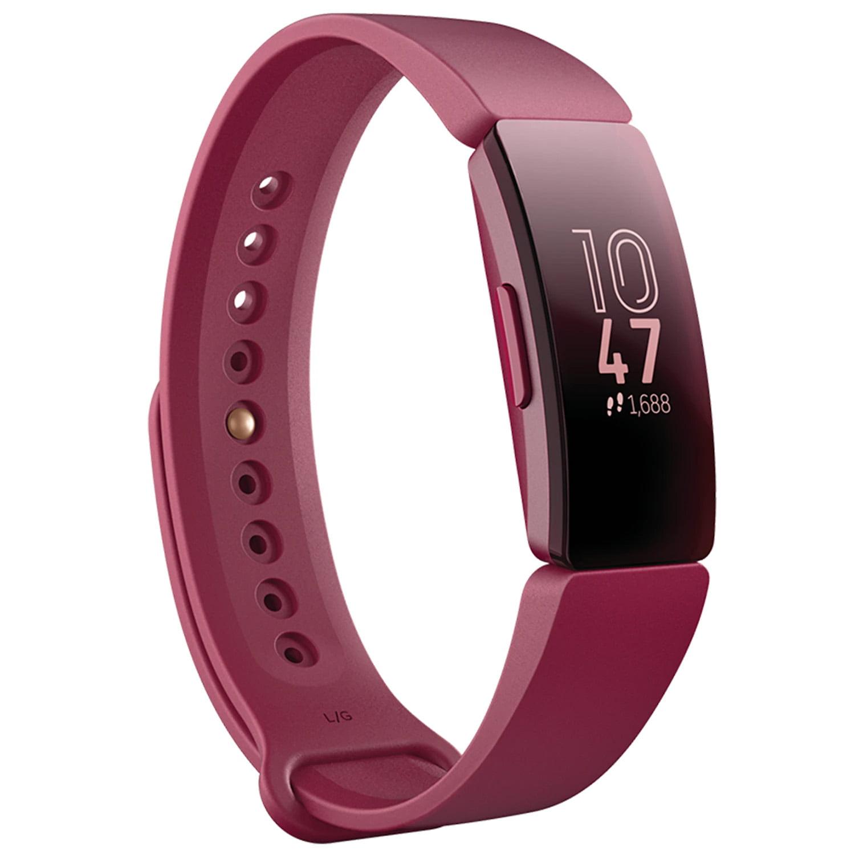 Bratara fitness Fitbit Inspire, Silicon, Black Aluminum, Curea Sangria