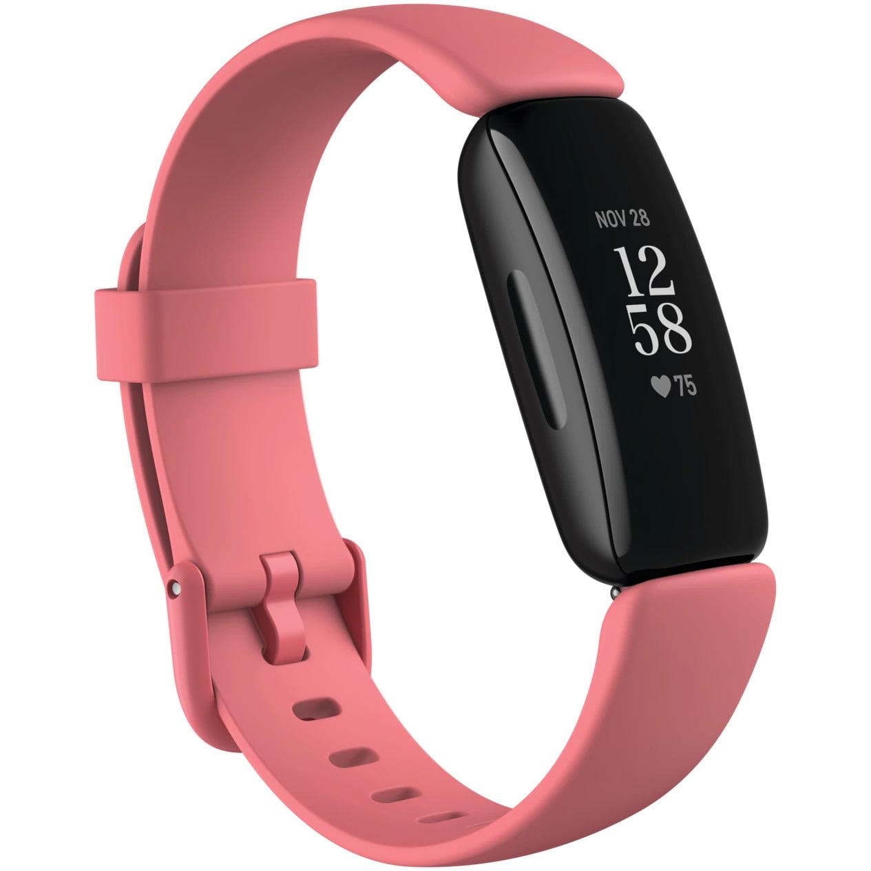 Bratara fitness Fitbit Inspire 2, Silicon, Black Aluminum, Desert Rose
