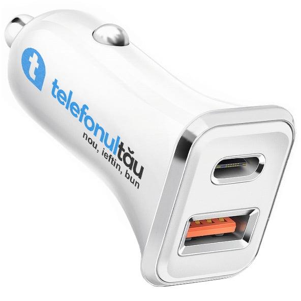 Incarcator auto QuickCharge, 18W, 2xUSB (USB-C + USB 3.0), 4A, White