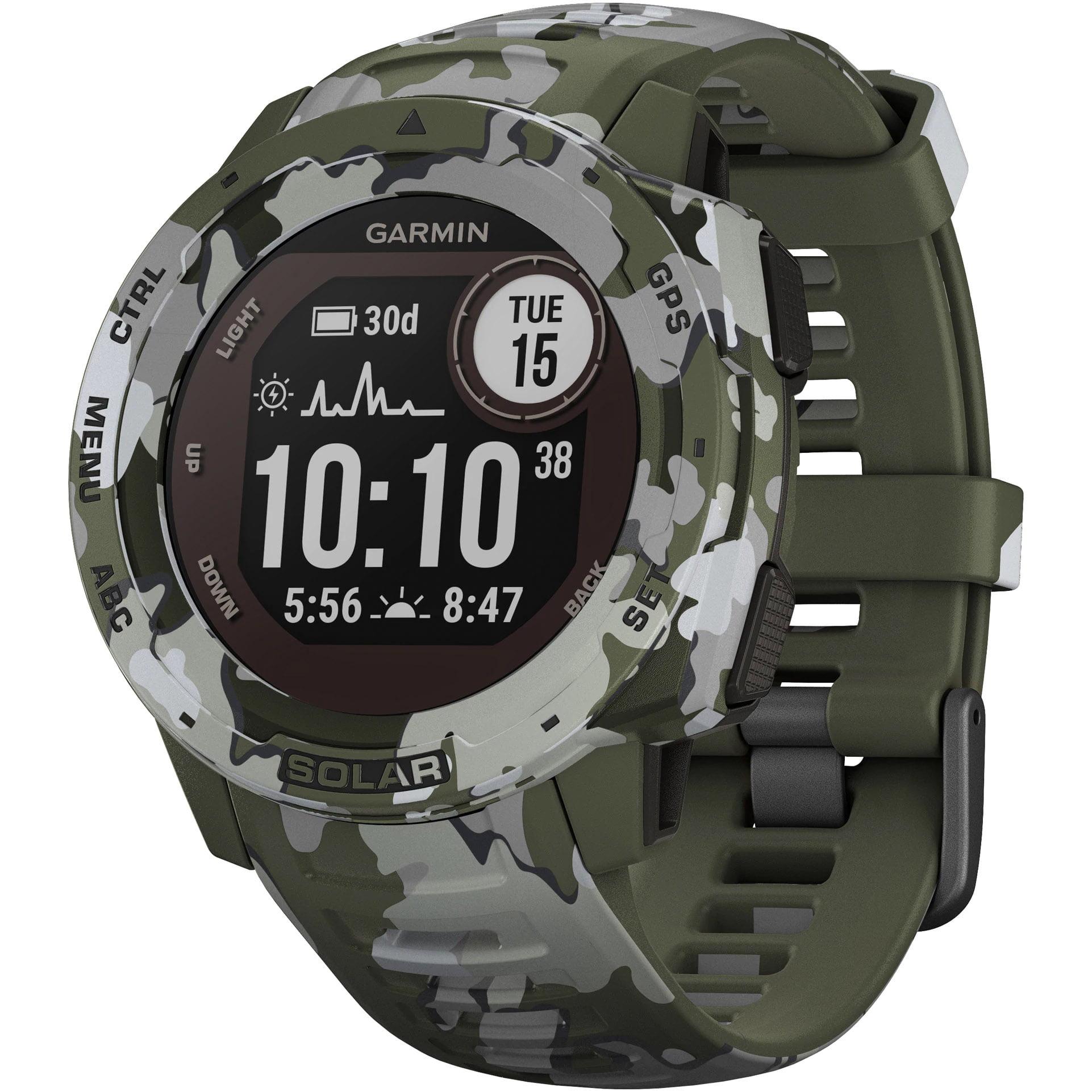 Ceas Smartwatch Garmin Instinct Solar, Camo Edition, 45 mm, HR, GPS, Lichen Camo