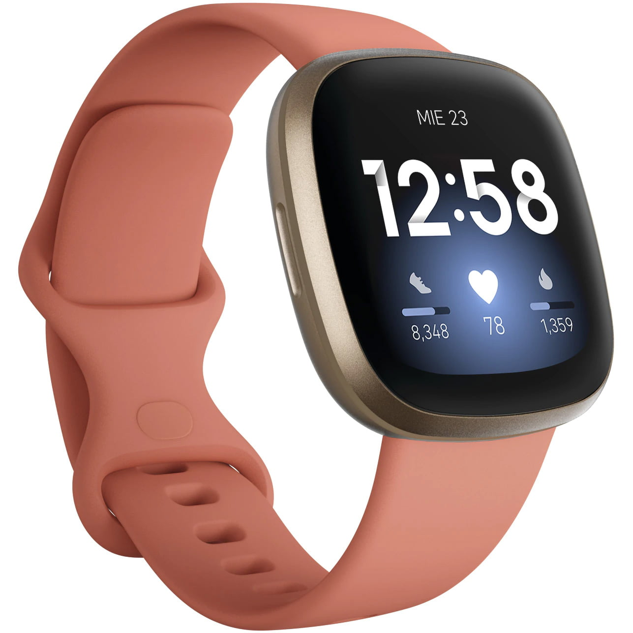 Ceas Smartwatch Fitbit Versa 3, NFC, GPS, Silicon, Pink Clay/ Soft Gold Aluminum
