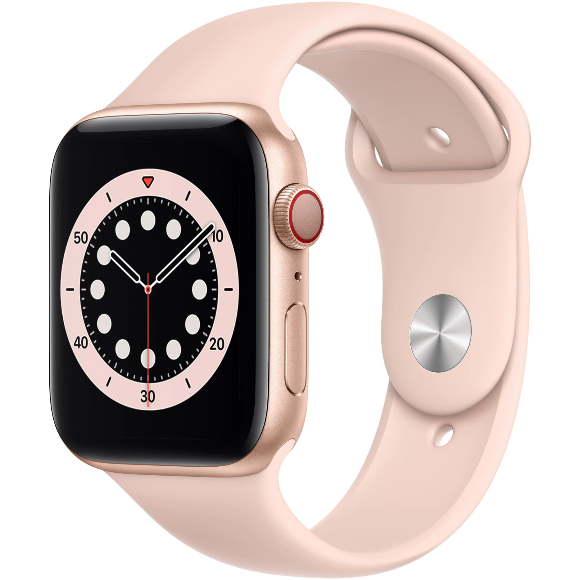 Ceas Smartwatch Apple Watch Series 6, GPS + Cellular, 40mm Gold Aluminium Case, Pink Sand Sport Band