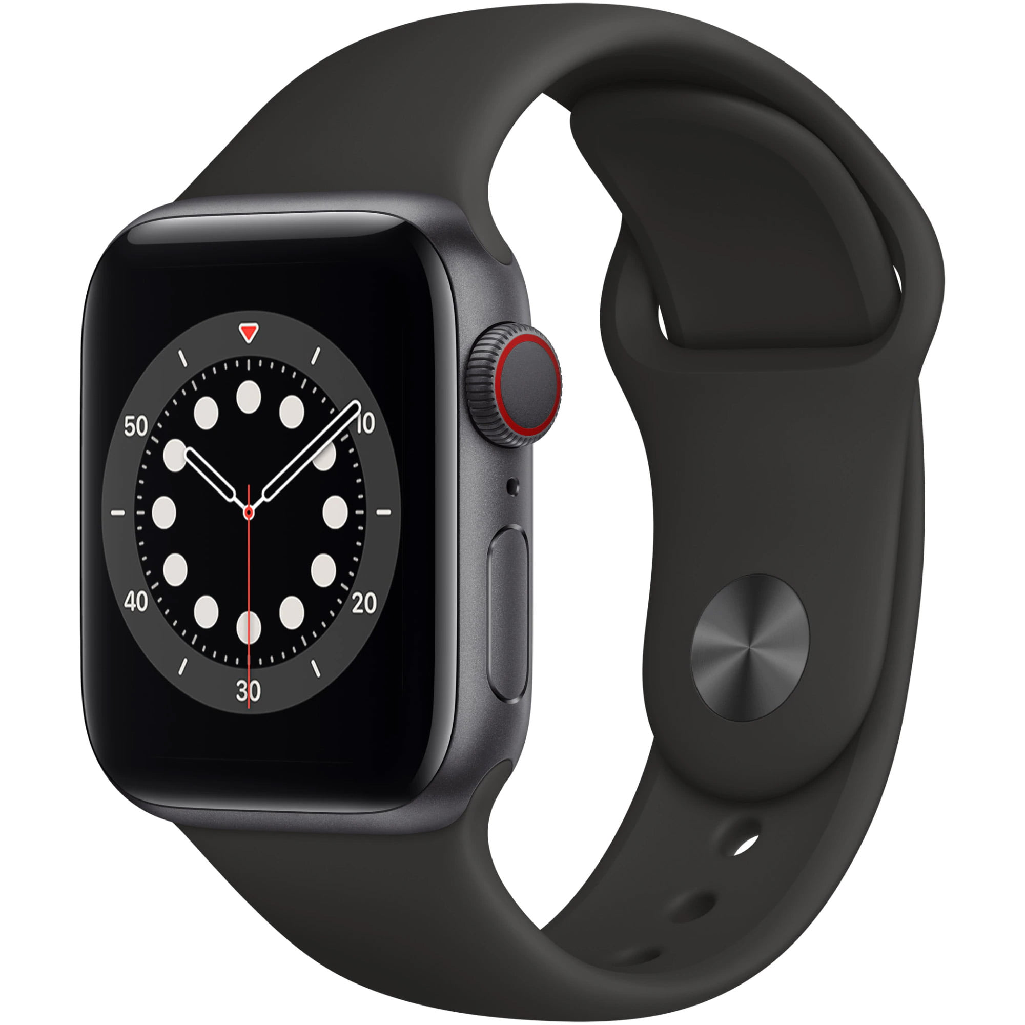 Ceas Smartwatch Apple Watch Series 6, GPS + Cellular, 44mm Space Grey Aluminium Case, Black Sport Band