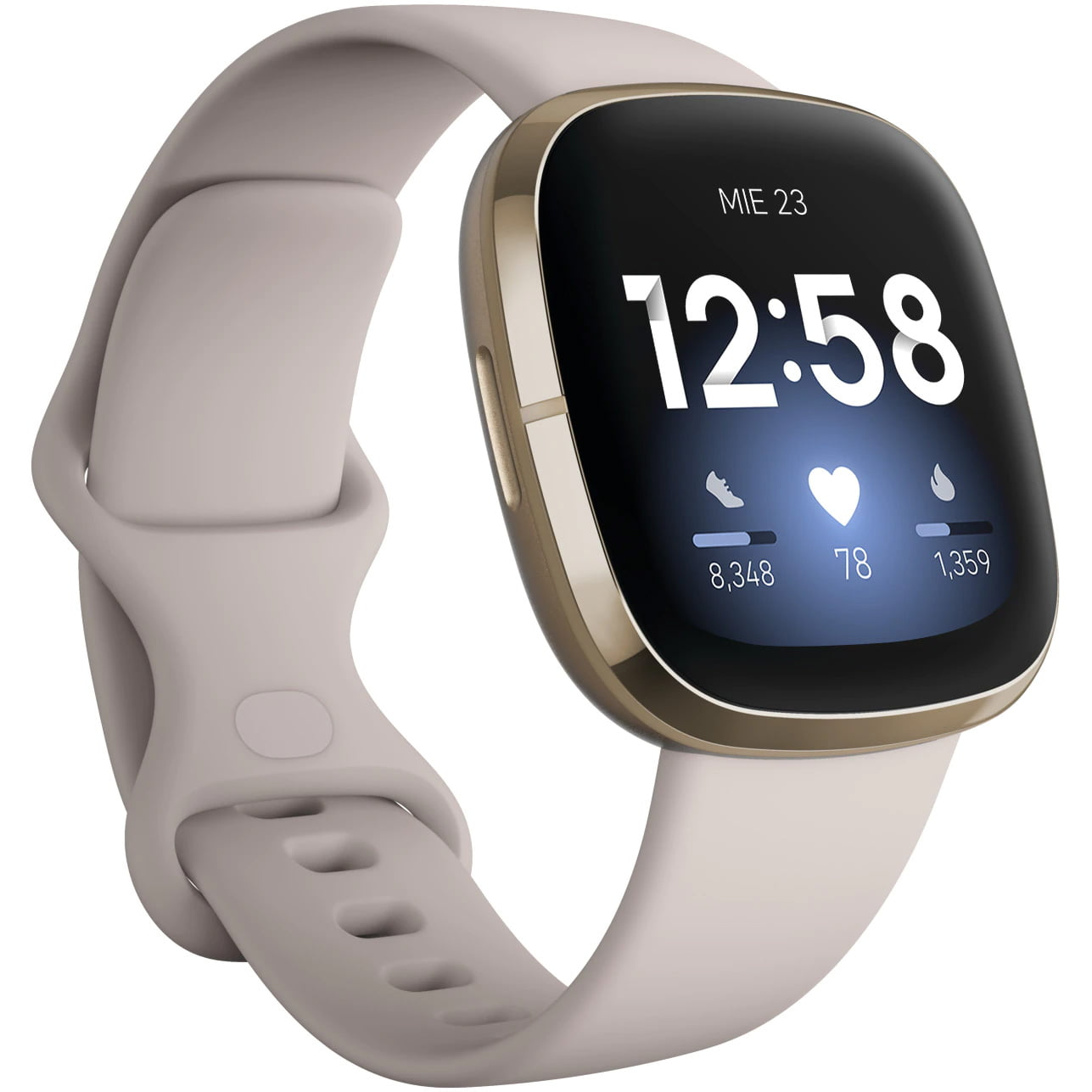 Ceas Smartwatch Fitbit Sense, NFC, GPS, Silicon, Lunar White/ Soft Gold Stainless Steel