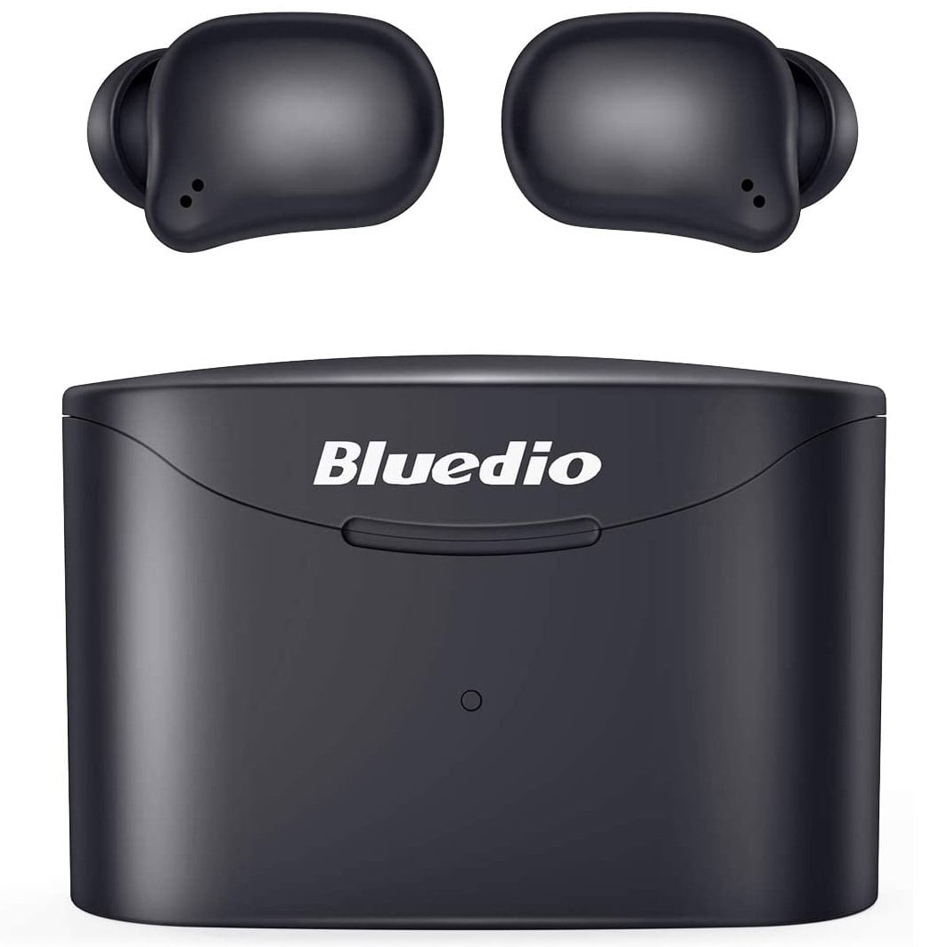 Casti In-Ear Bluedio T-Elf 2, Bluetooth, TWS, IPX6, Black cu carcasa de incarcare portabila