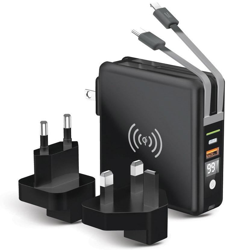 Incarcator Travel 5in1 20W, MicroUSB/ USB-C/ Lightning, Wireless Charging 15W, Powerbank 10000mAh, Black