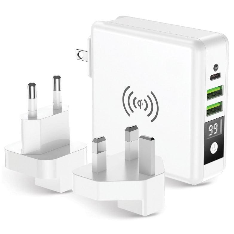 Incarcator Travel 4in1, 15W, 2xUSB, USB-C, Wireless Charging 5W, Powerbank 8000mAh, White