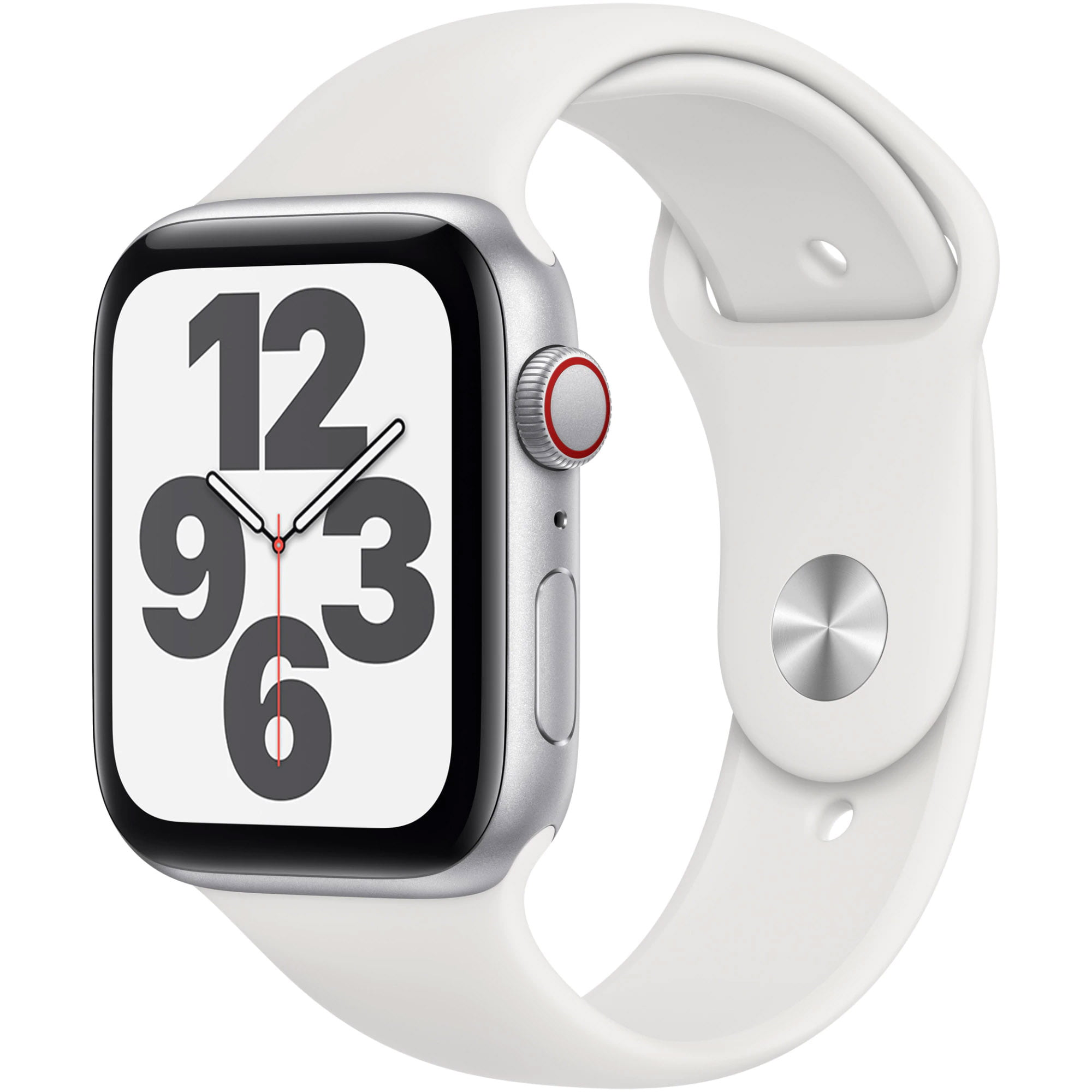 Ceas Smartwatch Apple Watch SE, GPS + Cellular, 40mm Silver Aluminium Case, White Sport Band