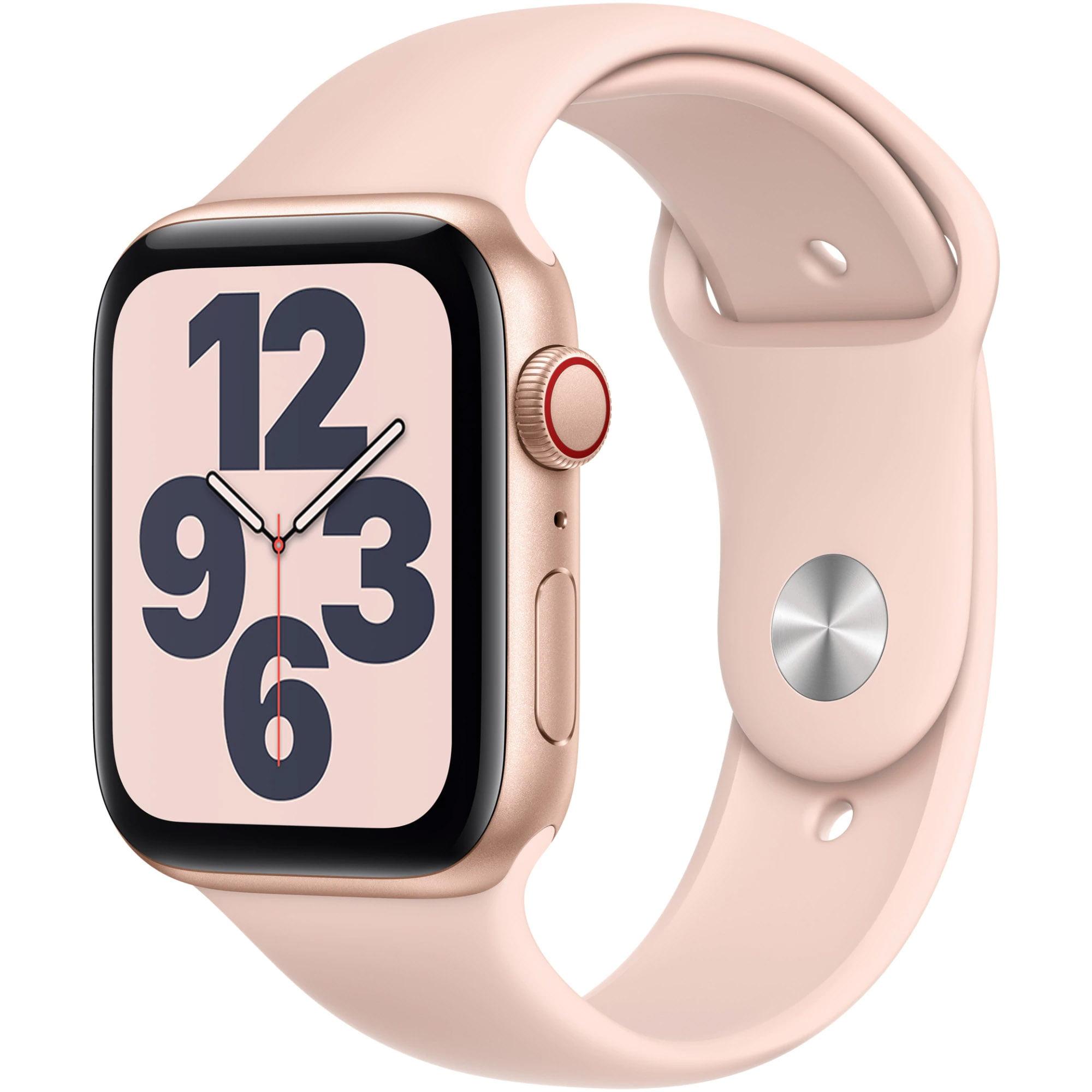 Ceas Smartwatch Apple Watch SE, GPS + Cellular, 40mm Gold Aluminium Case, Pink Sand Sport Band