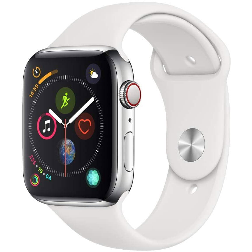 Ceas Smartwatch Apple Watch Series 4, GPS + Cellular, 44 mm, Silver Stainless Steel Case, White Sport Band
