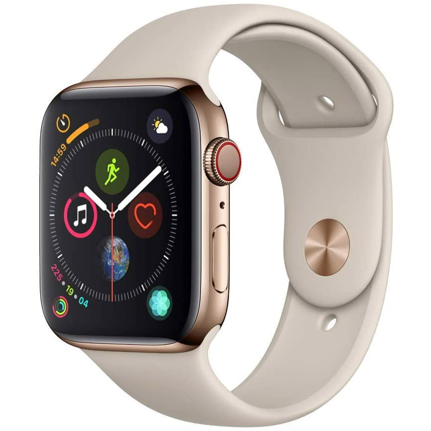 Ceas Smartwatch Apple Watch Series 4, GPS + Cellular, 44 mm, Gold Stainless Steel Case, Stone Sport Band