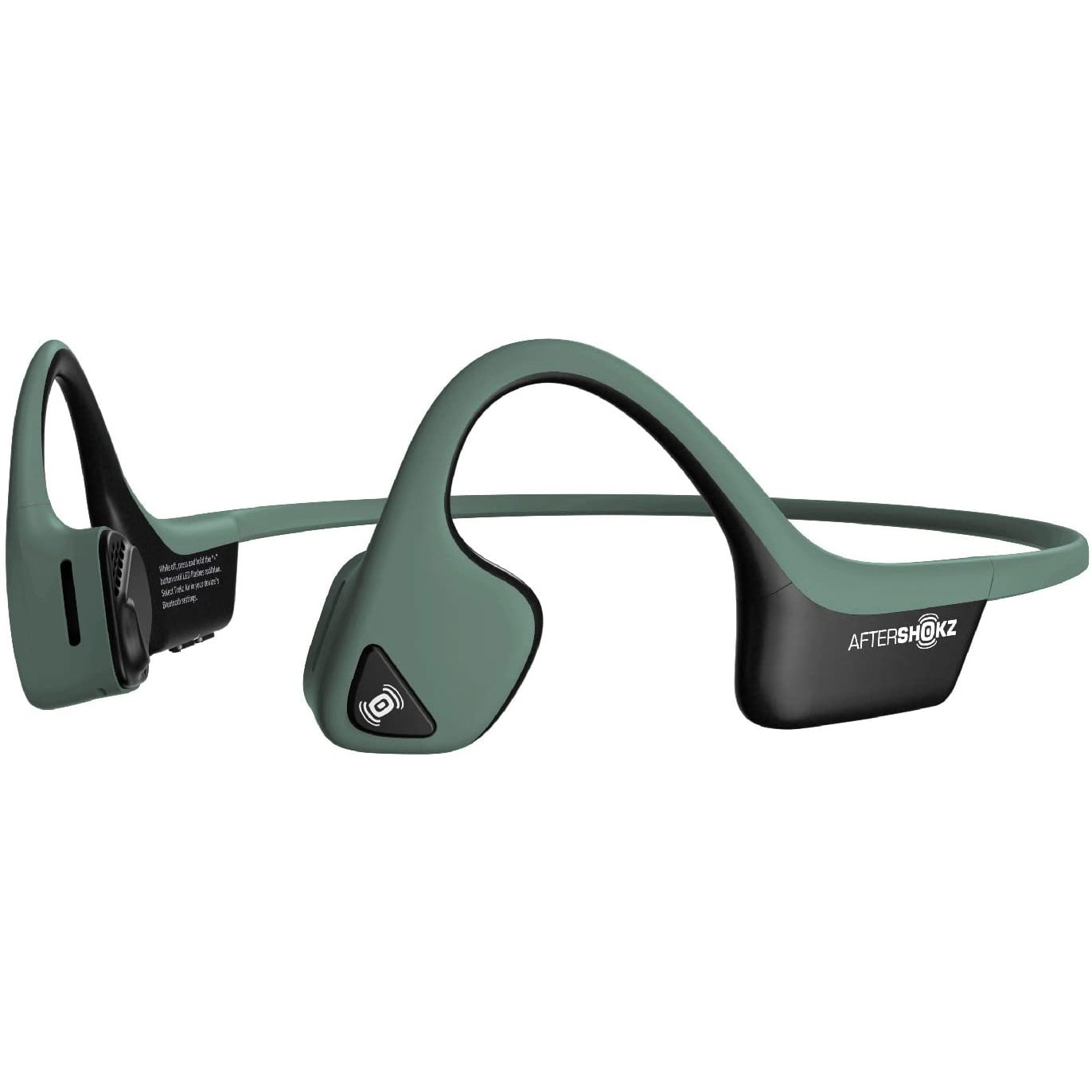 Casti Behind the Ear Aftershokz Trekz Air AS650, Conductie prin os, Wireless, Portable Case, IP55, Forest Green