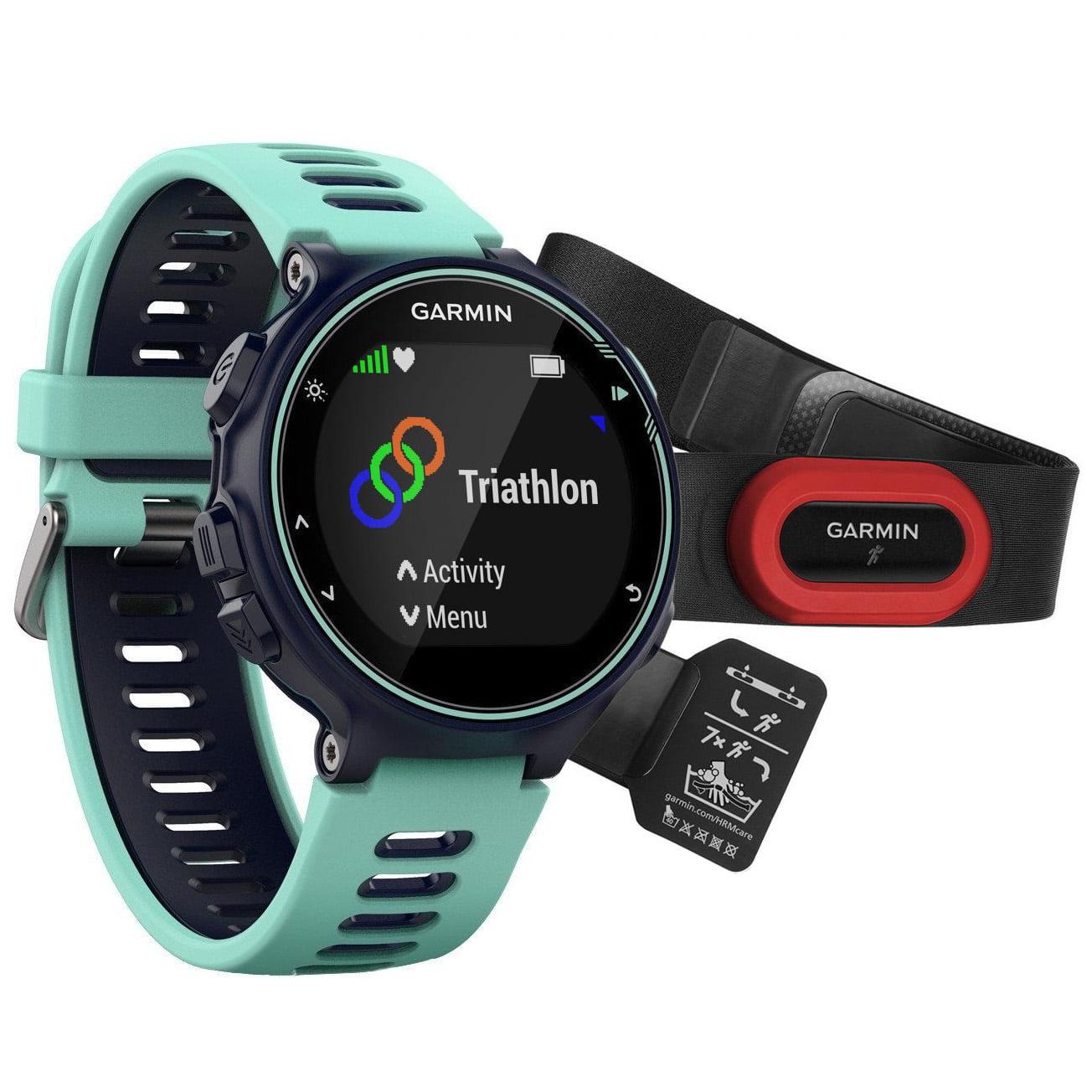 Ceas smartwatch Garmin Forerunner 735XT Run Bundle, HR, Blue cu Centura Garmin HRM-Run, Black/Red