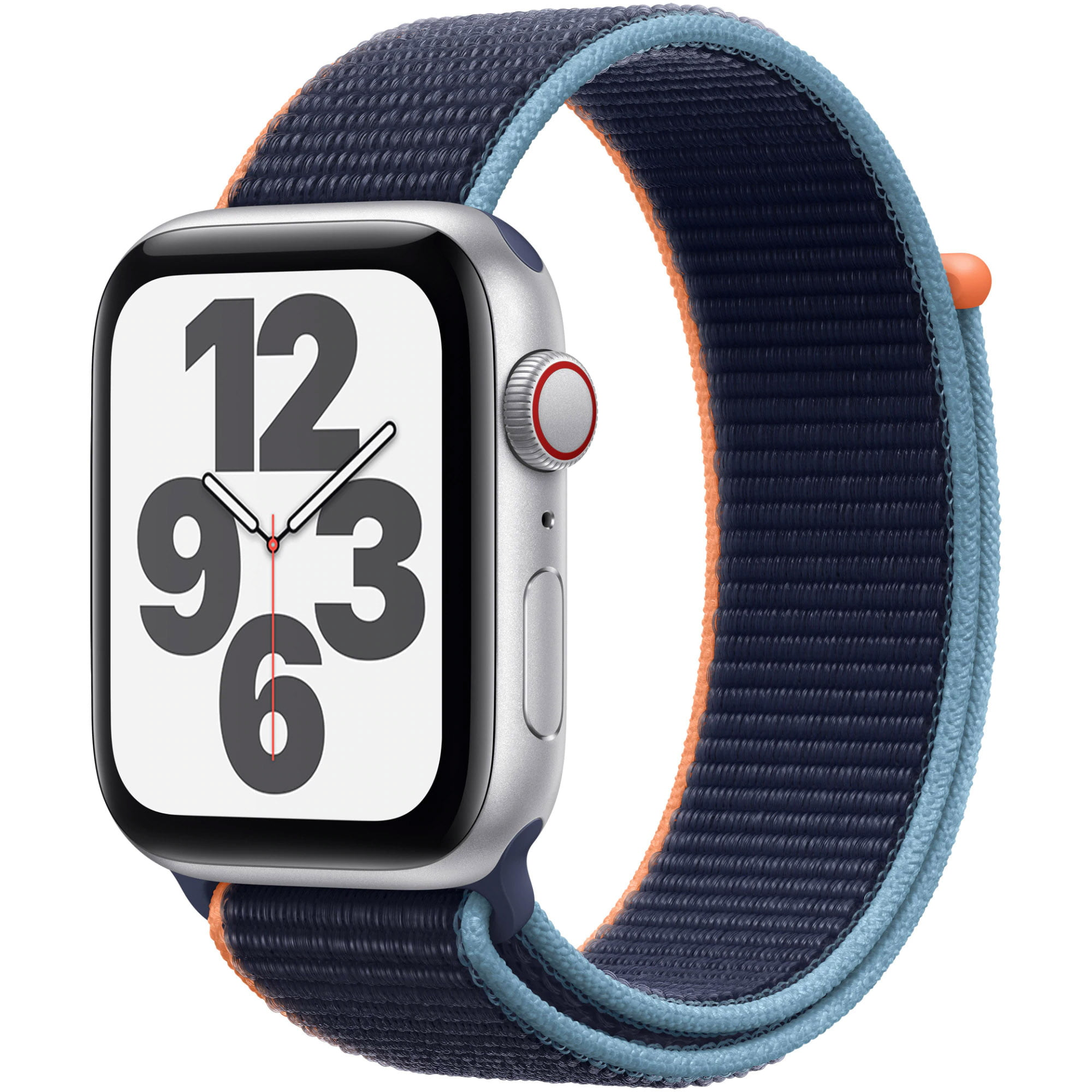 Ceas Smartwatch Apple Watch SE, GPS + Cellular, 44mm Silver Aluminium Case, Deep Navy Sport Loop